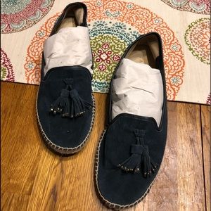 Talbot's espadrilles size 10.5, navy blue leather